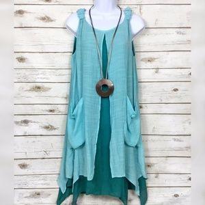 Dresses & Skirts - Layered Sleeveless Sharkbite Lagenlook Cargo Dress